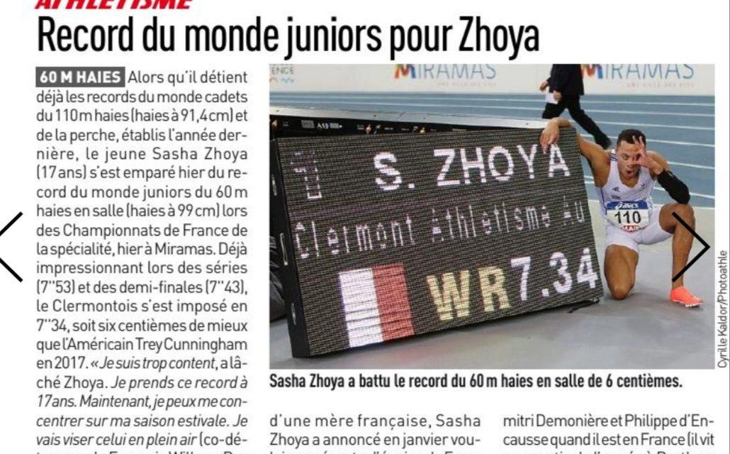 Sasha Zhoya  RECORD DU MONDE du 60m haies U20
